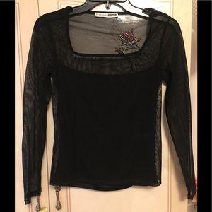 Vintage black sheer with rose embellishment